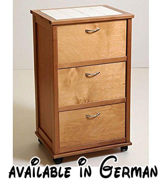 B078FN5NFF  Holz Küchenwagen mit drei Falten SchubladenAmbrogio