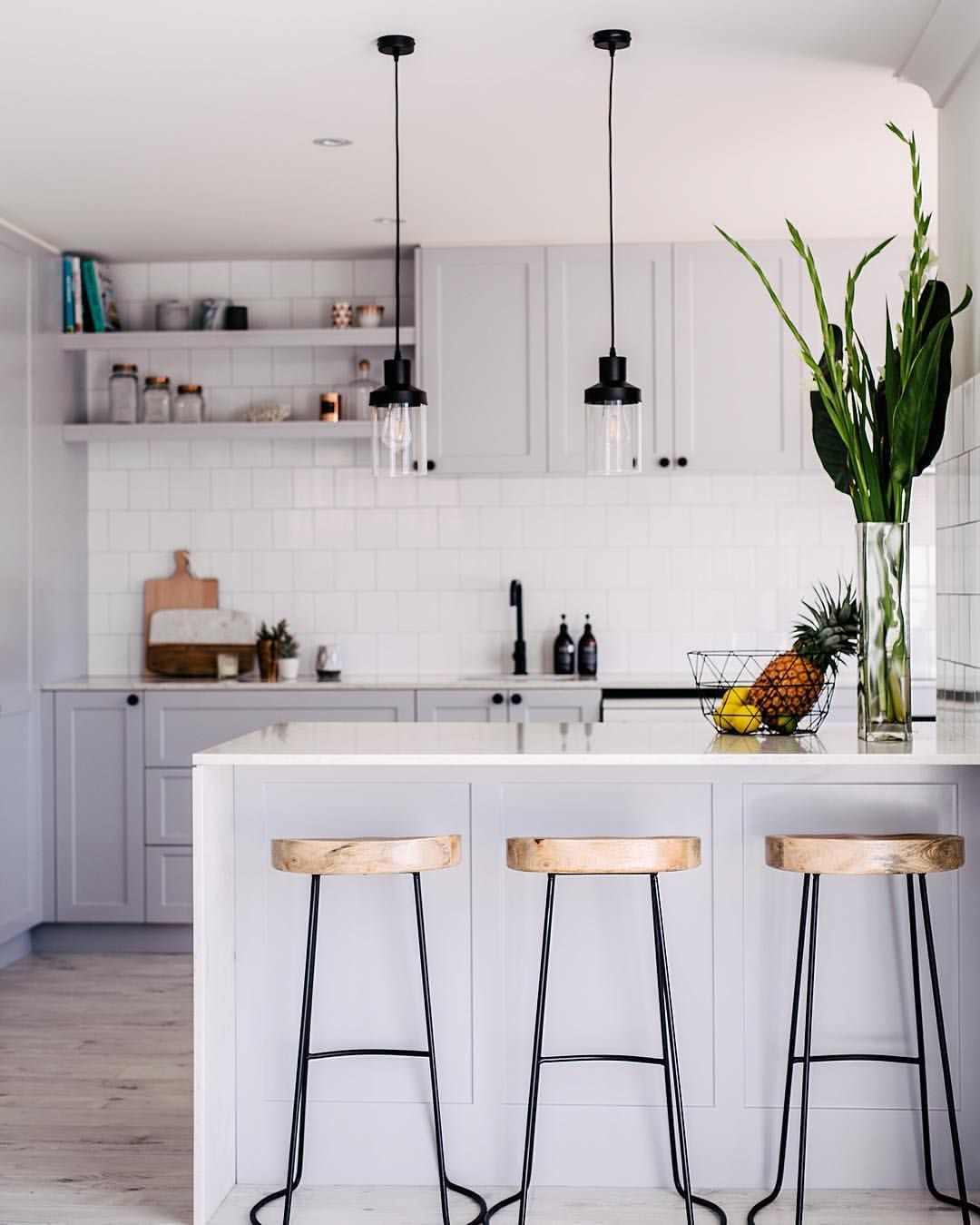White Kitchen Floating Shelves: Grey And White Kitchen, High Stools, Wire Legs, Black