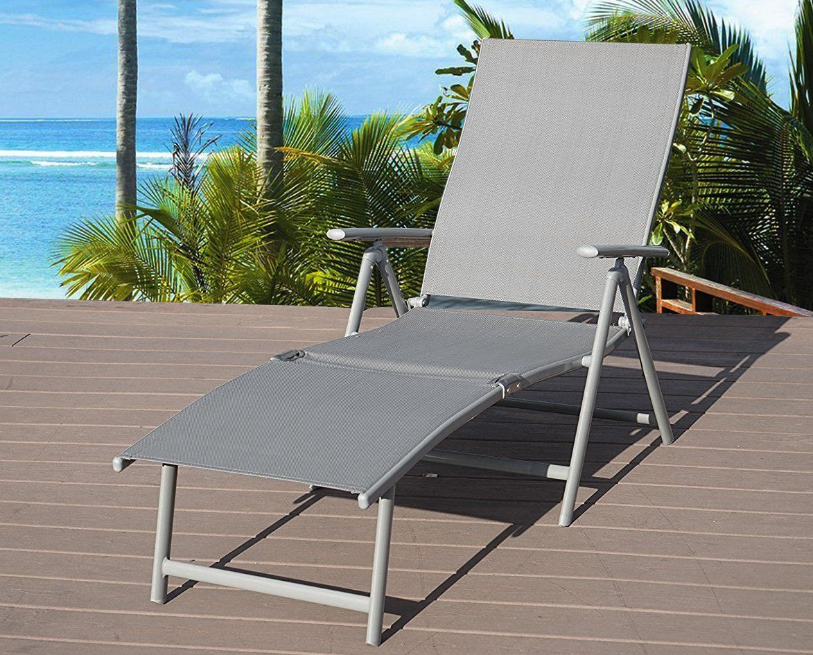 Aluminum Beach Yard Pool Folding Reclining Adjule Chaise Lounge Chair Gray