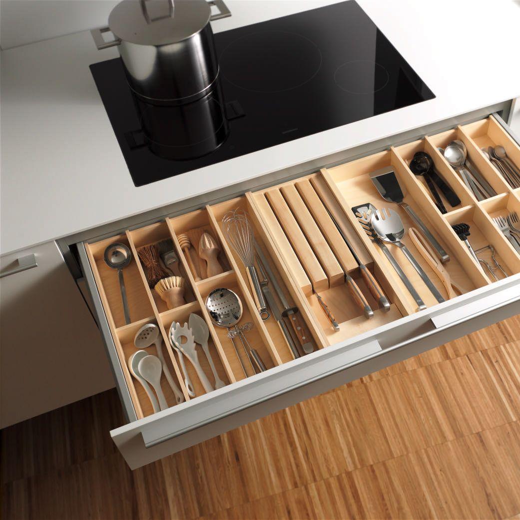 Organisation For Your Cooking Utensils In Oak. Kitchen Drawer ...