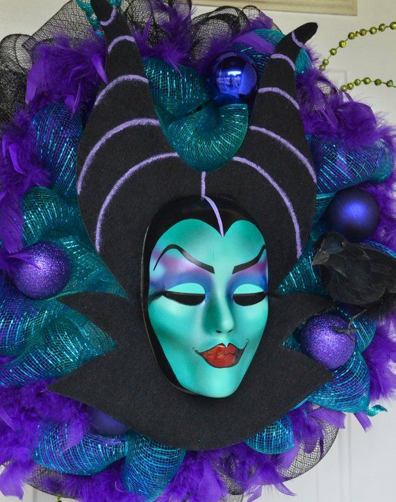 Maleficent Inspired Wreath Deco Mesh Or Vines In 2019