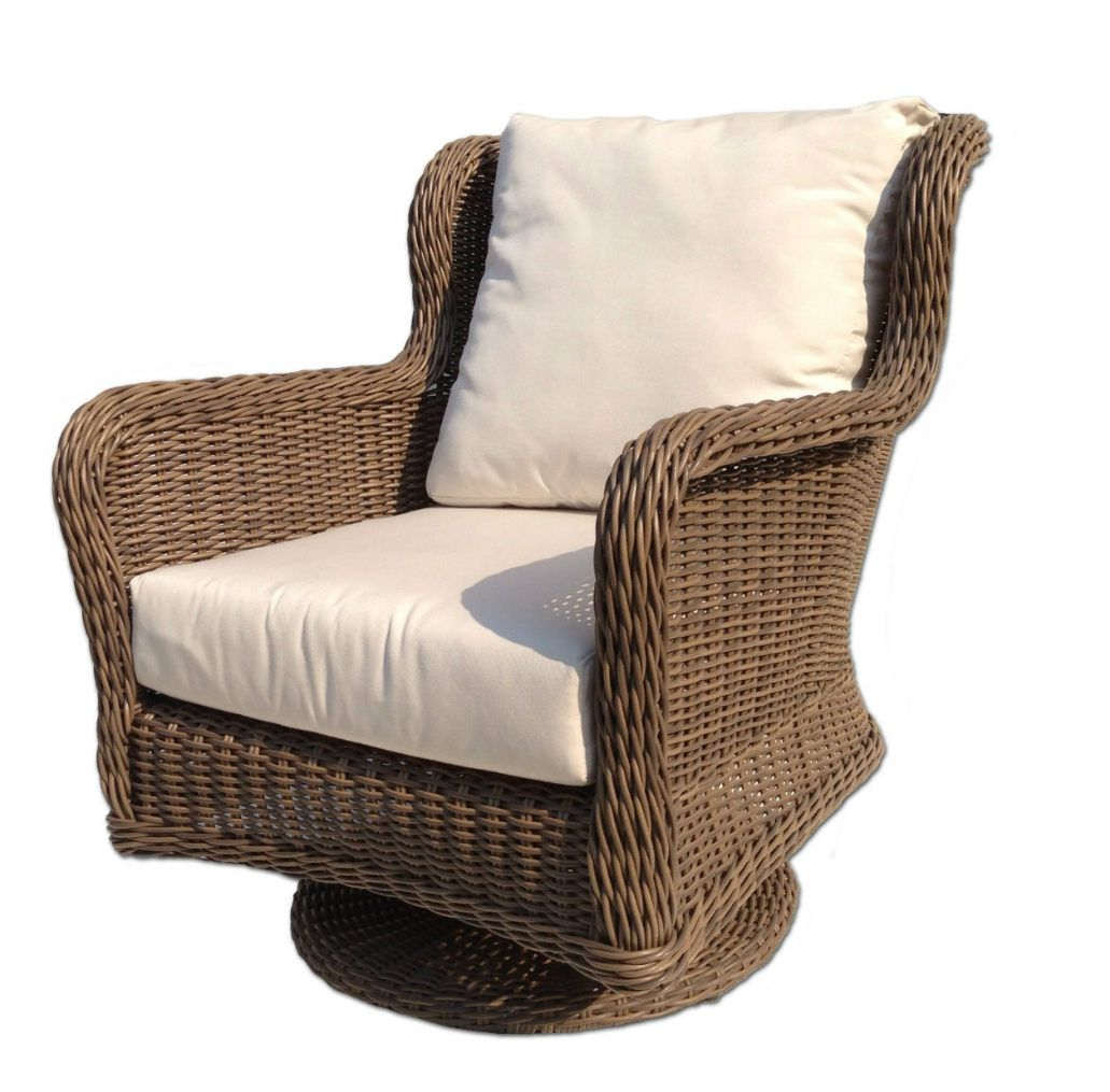 Bayshore outdoor wicker swivel chair wicker patio for Outside porch chairs