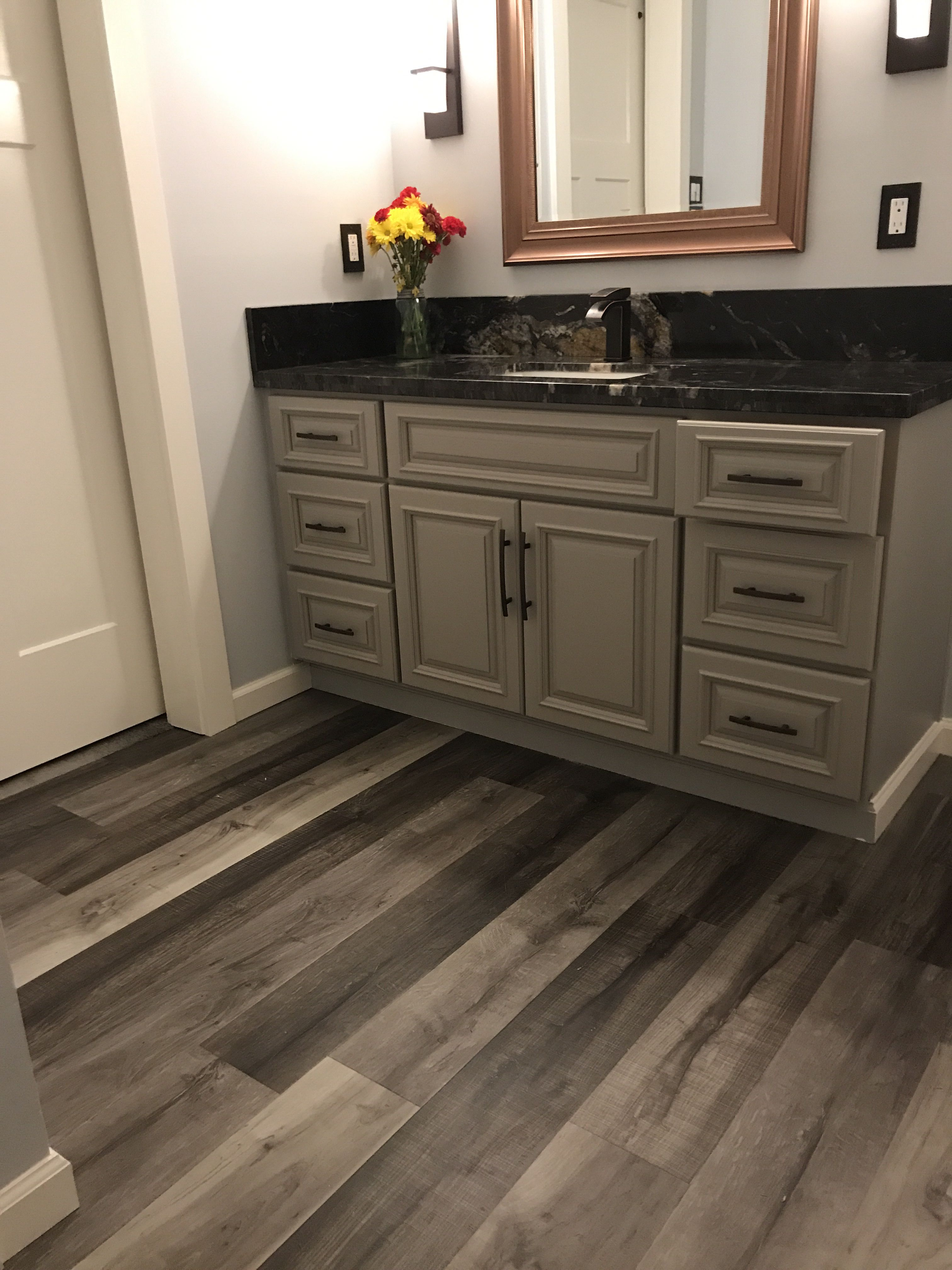 We Did It Luxury Vinyl Plank Cork Backed 100 Water Proof Flooring We Also Added A Cork Underpayment And Kaye Luxury Vinyl Plank Bathroom Redo Vinyl Plank