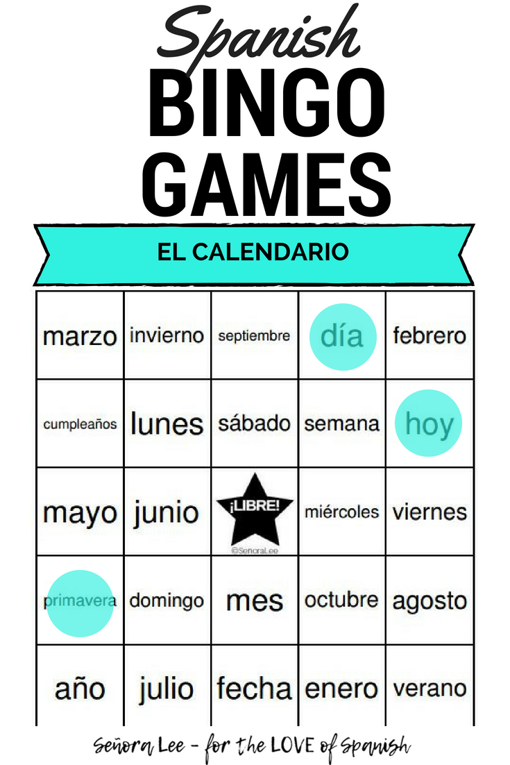 spanish calendar bingo el calendario espa ol elementary spanish spanish lessons for kids. Black Bedroom Furniture Sets. Home Design Ideas