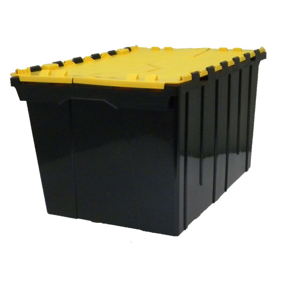 Commander 12 Gallon 48 Quart Black Yellow Tote With Hinged Lid Hinged Lid Plastic Storage Totes Hinges