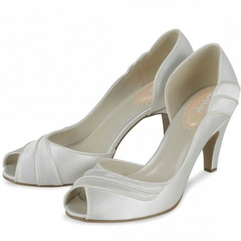 Desire by Pink for Paradox London Ivory or White Satin Dyeable Vintage Wedding or Occasion Shoes