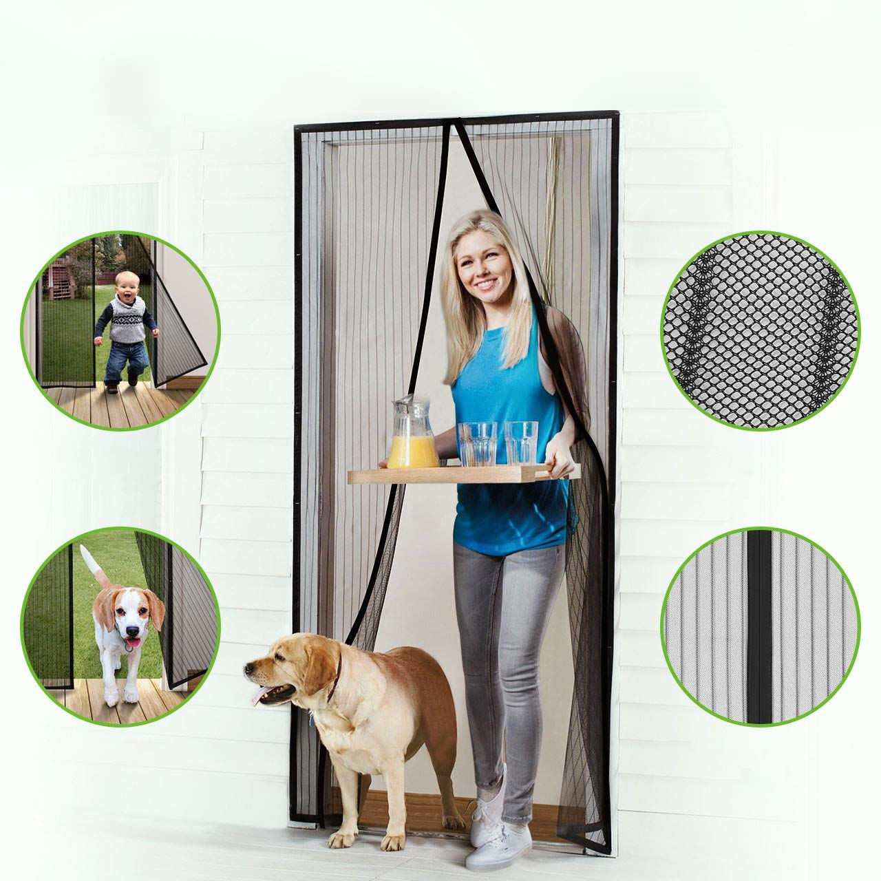 Homitt Magnetic Screen Door With Heavy Duty Mesh Curtain And Full Frame Hook Loop Fits Door Size Up To 36 82 Magnetic Screen Door Diy Screen Door Screen Door