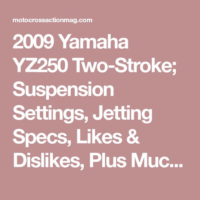 Yz250 Jetting