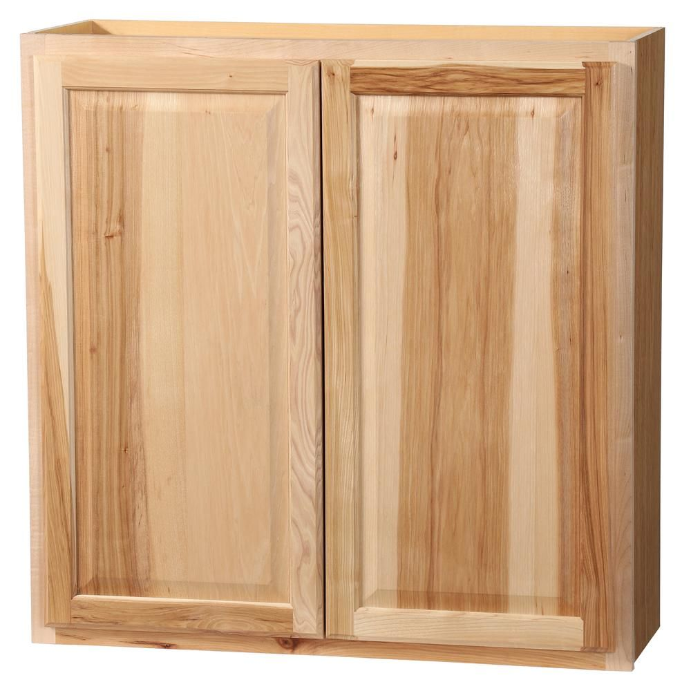 Hampton Bay Hampton Assembled 36x36x12 In Wall Kitchen Cabinet In Natural Hickory Kw3636 Nhk The Home Depot Kitchen Cabinets Birch Cabinets Kitchen Cabinet Design