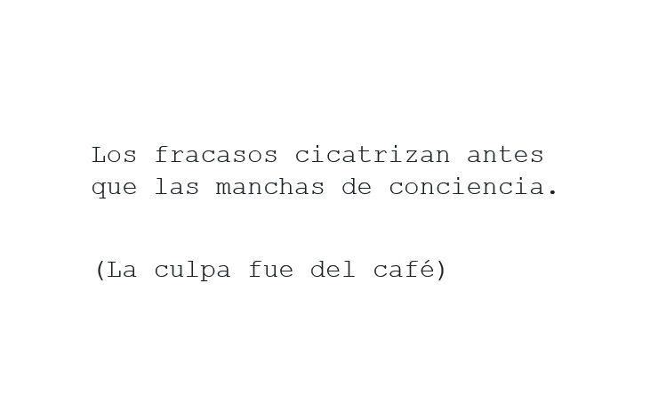 Frases, reflexiones, libros, novelas. Sinopsis novela La culpa fue del café de Carlos Javier Hernández Hernández.  Fracaso, miedo, conciencia, riesgo.