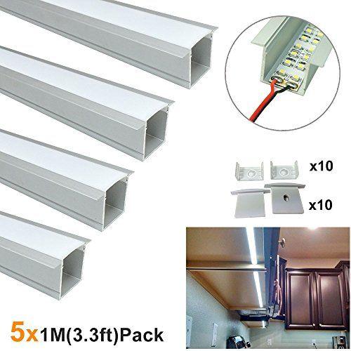 Lightingwill Spot Free U Shape Led Aluminum Channel 5pack 33ft1m 36x24mm Anodized Silver Track Internal Width 20mm Led Strip Lighting Strip Lighting Led Strip