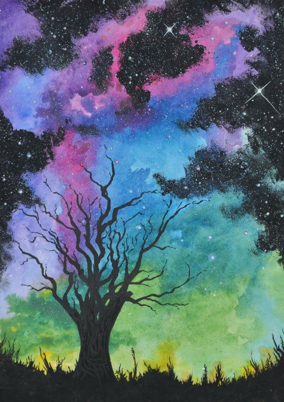 Original Watercolor And Acrylic Painting A4 Paper Landscape Nature Colorful Hand Painted Galaxy Universe Tree Landscape Night Painting Original Watercolors Art