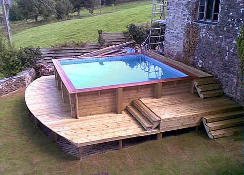 swimming pool simple above ground pool design in backyard with square shape and simple wooden decks creative ideas of above ground swimming pools to save