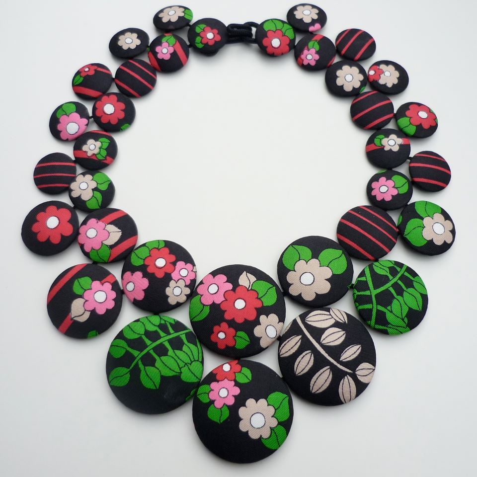 A necklace by Cecile Bertrand, who makes textile jewelry