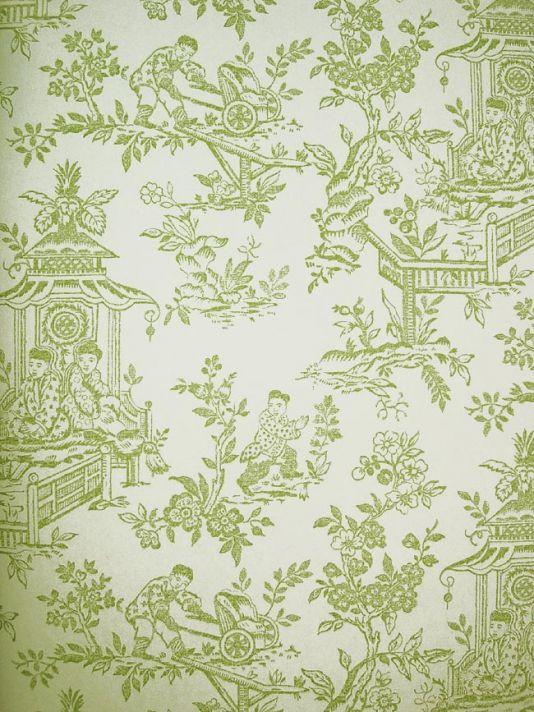 Chatelet Wallpaper Apple Green Toile Wallpaper Doll House
