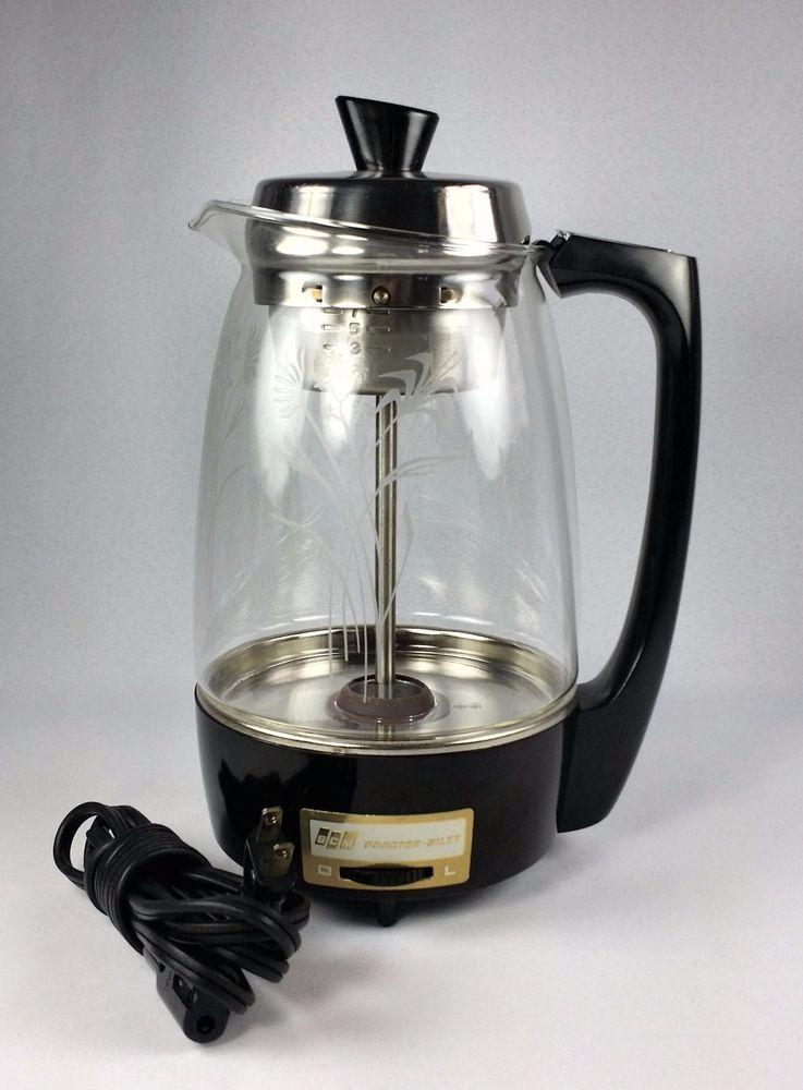 Proctor Silex 11 Cup Glass Coffee Percolator Model 70503 Floral Vintage 1960s Percolator Coffee Percolator Coffee Pot Percolator