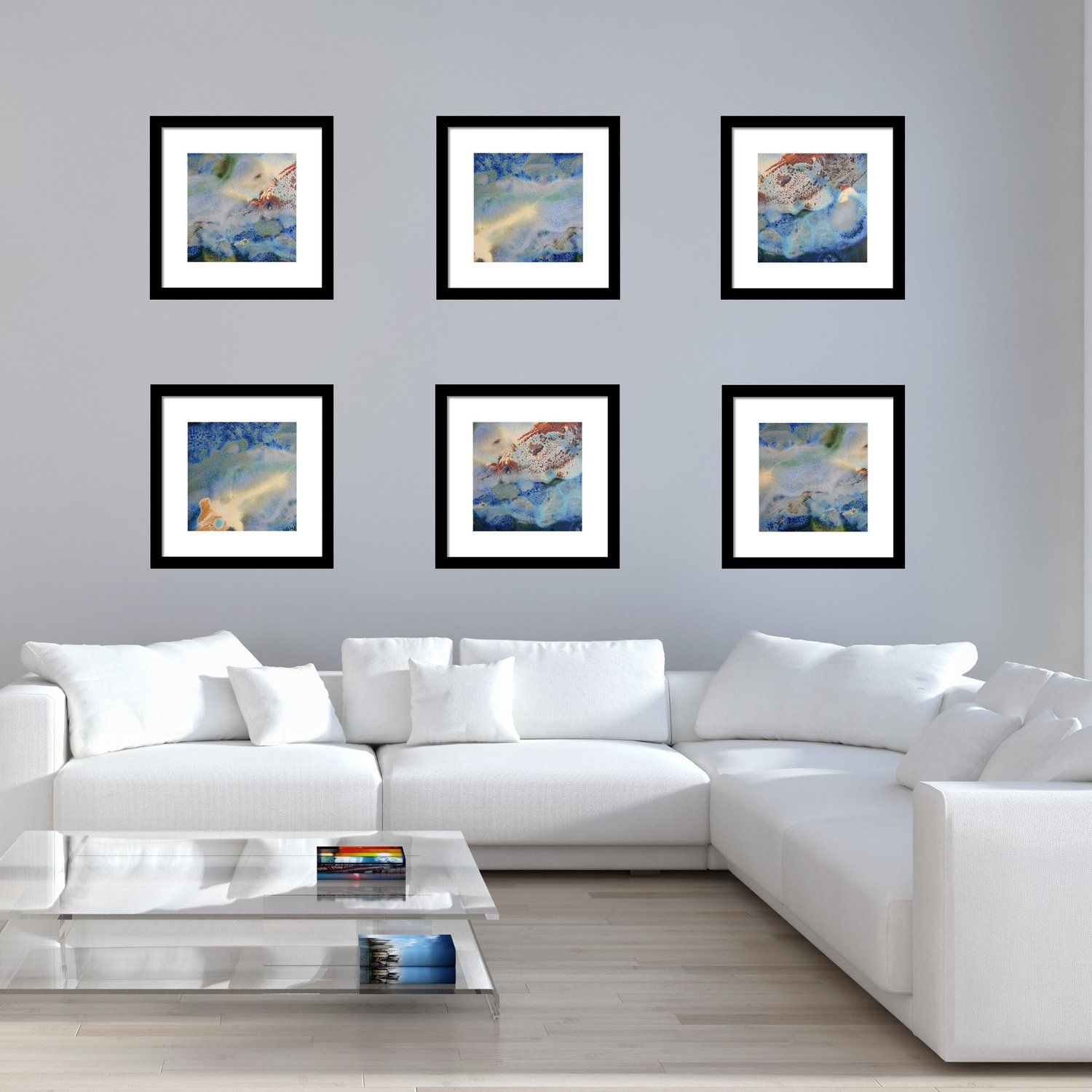 Square Abstract Landscape Prints In Hallway - Blue Yellow Brown