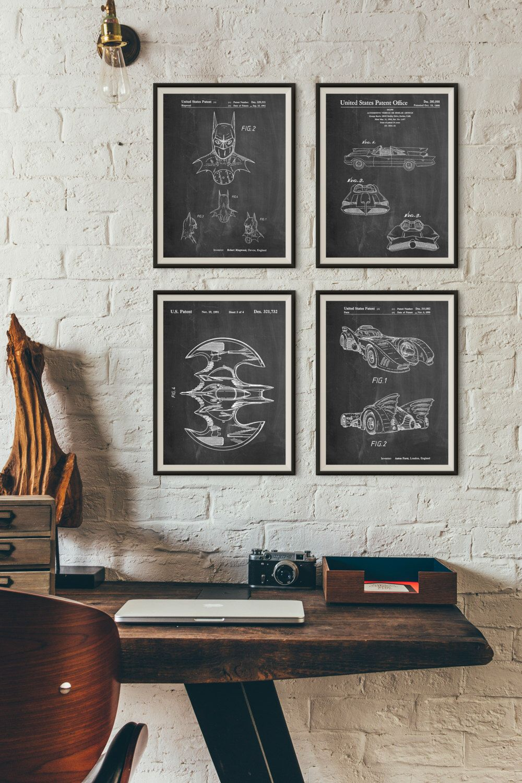 Blueprint Wall Art batman patent posters group of 4, batman cowl, batman gifts