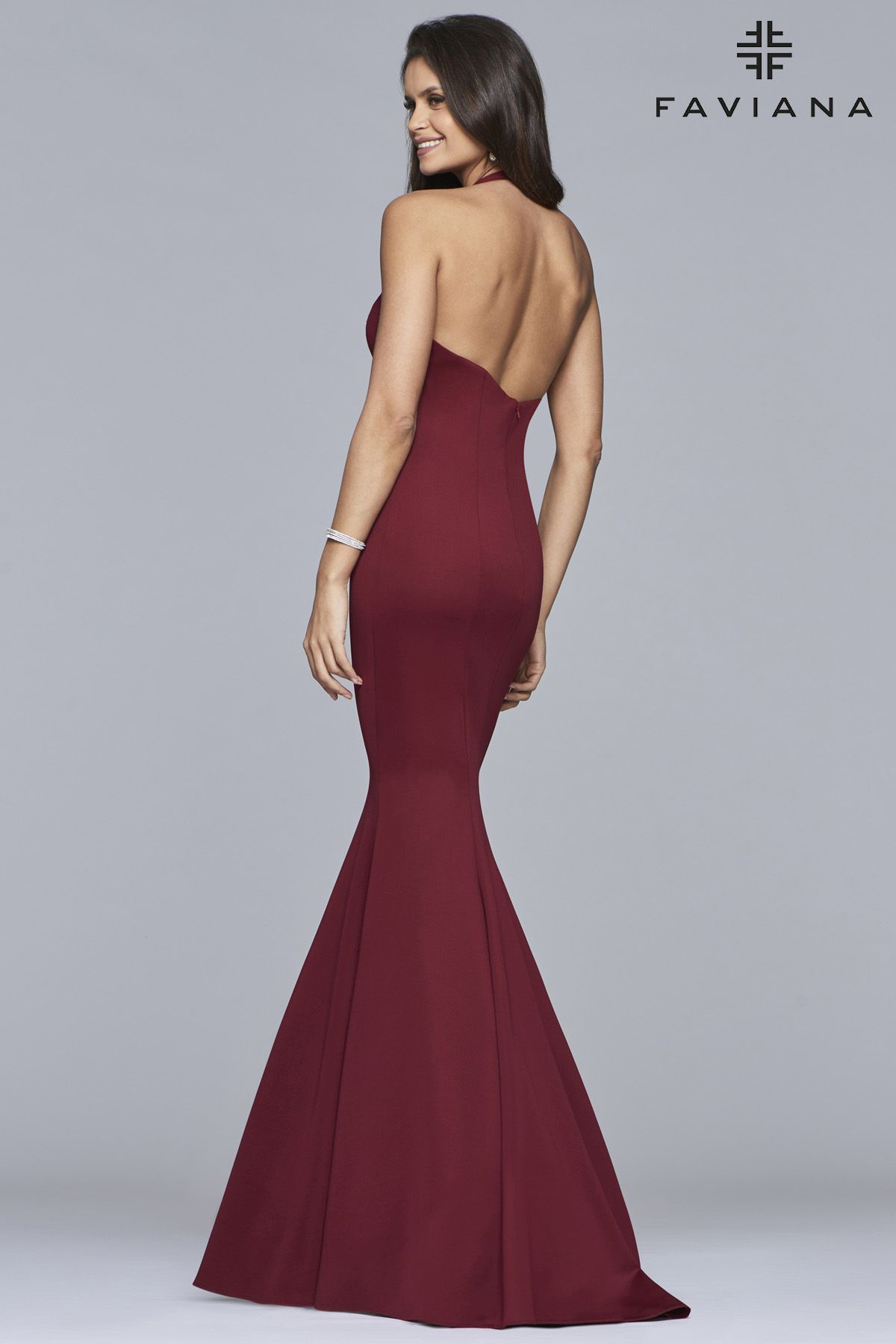 ca8a94108c0 Faviana style 10105 is sultry and classic. This form fitting luxe jersey  dress features a plunging neckline and a mermaid style skirt.