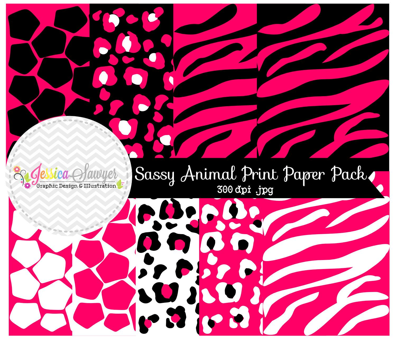 INSTANT DOWNLOAD pink animal print digital by JessicaSawyerDesign ...