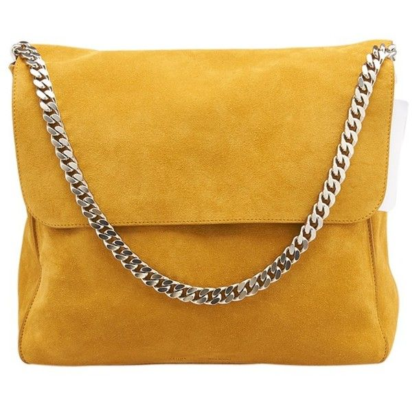 7594d33658f Pre-owned Celine Yellow Suede Flap Shoulder Bag ( 920) ❤ liked on Polyvore  featuring bags