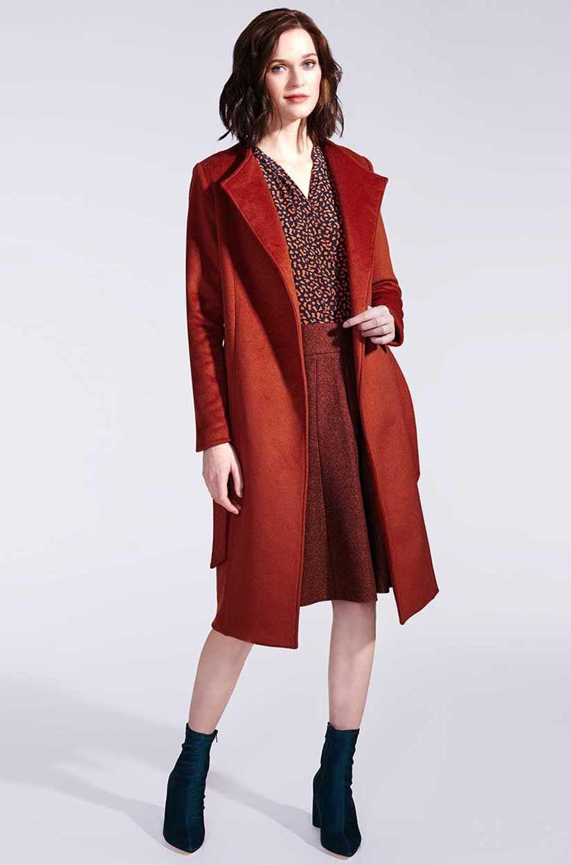 Wollmantel im eleganten Rost-Orange  Karokleid, Wollmantel damen