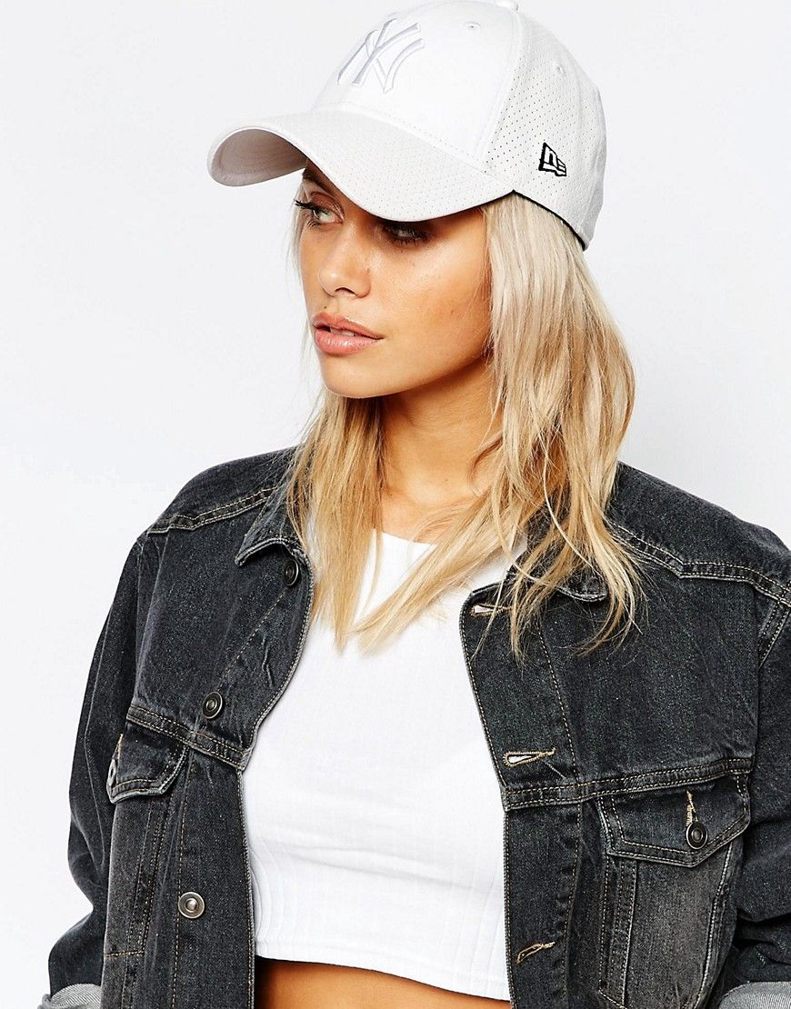 New Era Perforated Leather Look Cap in White at asos.com