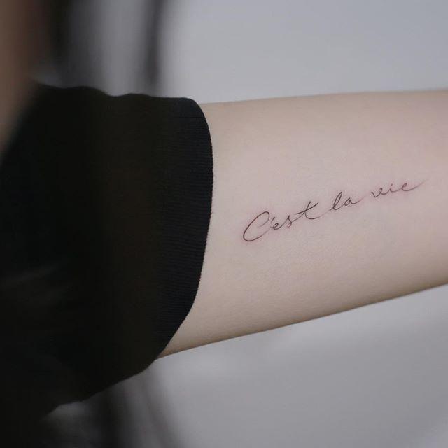 : C'est la vie . #tattoo #tattoos #tattooing #art #tattooistdoy #inkedwall #design #drawing #타투 #타투이스트도이 #SwashRotary #dynamic #intenz #silverback #BellLiner #BellNiddle #TattooSupplyBell #lettering