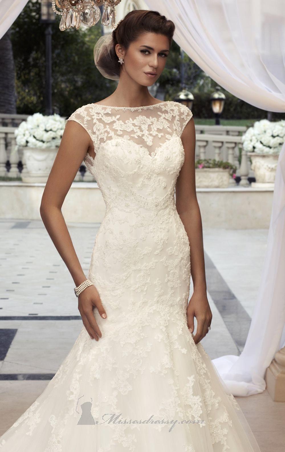 Beaded satin mermaid wedding dress casablanca bridal dress