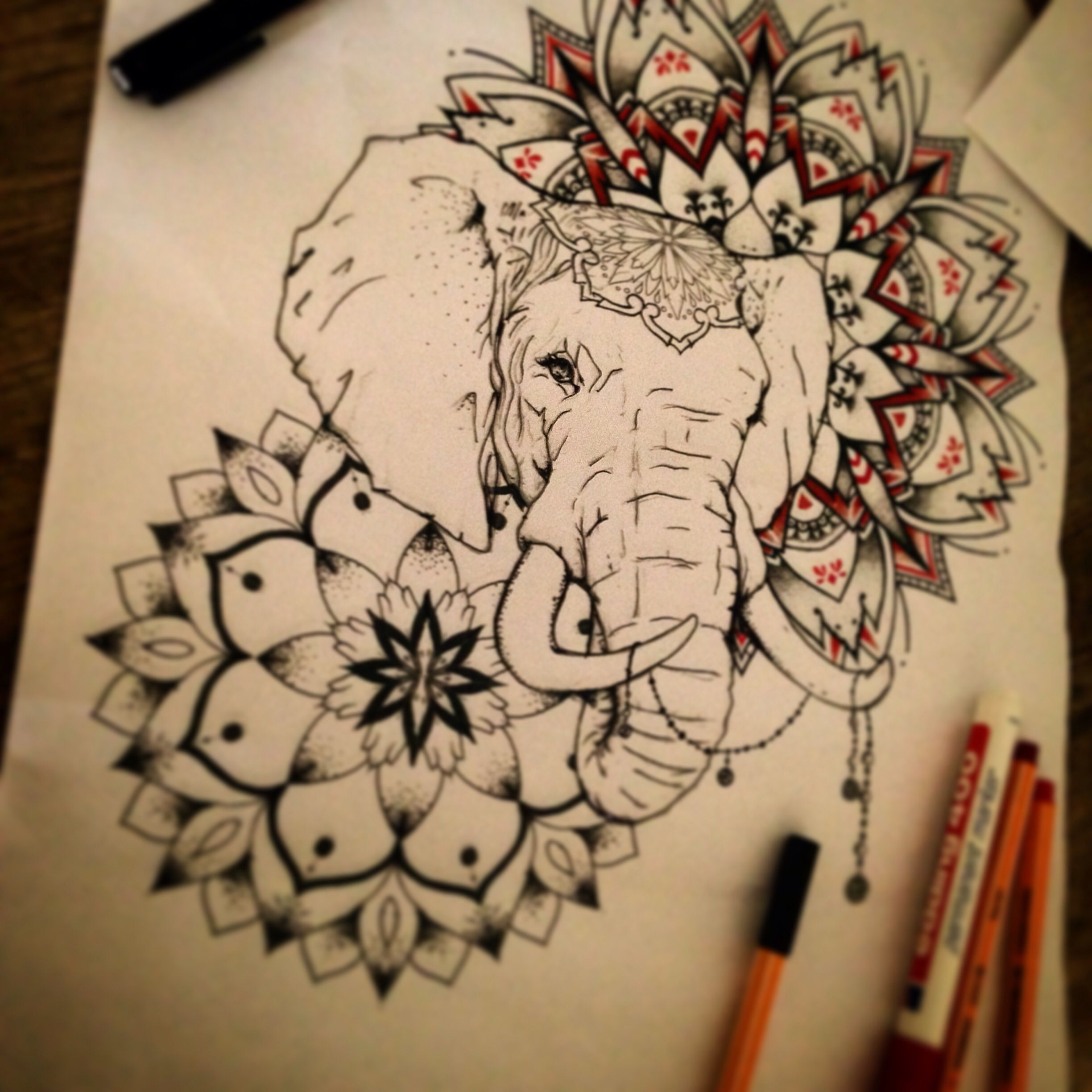 Elephant Mandala Dot Work Drawing In Progress Artist Ifipearl