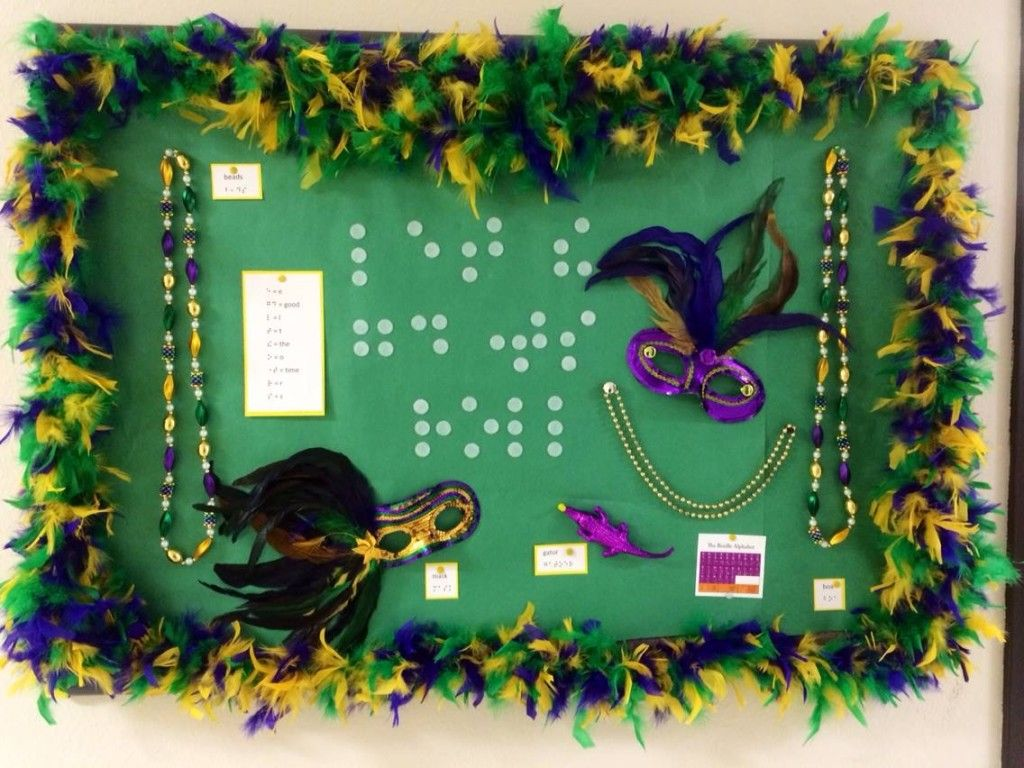Mardi Gras Braille Bulletin Board