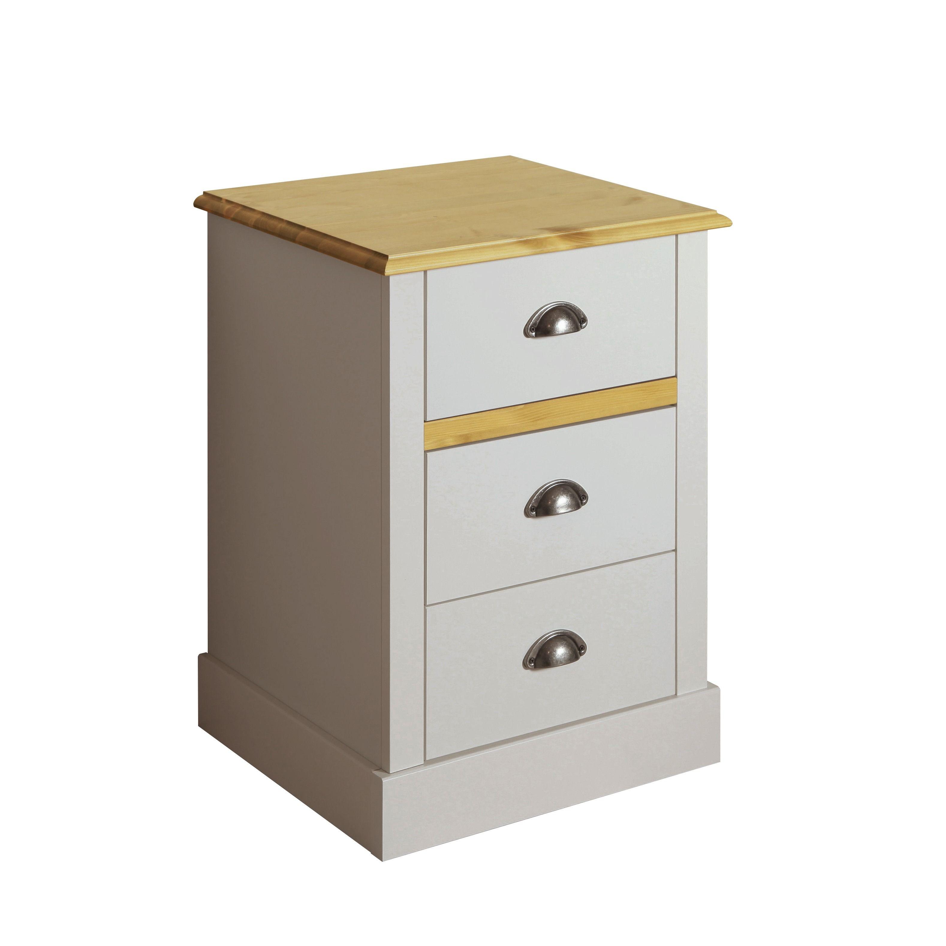 Best Steens Sandringham White Pine 3 Drawer Bedside Wooden 640 x 480