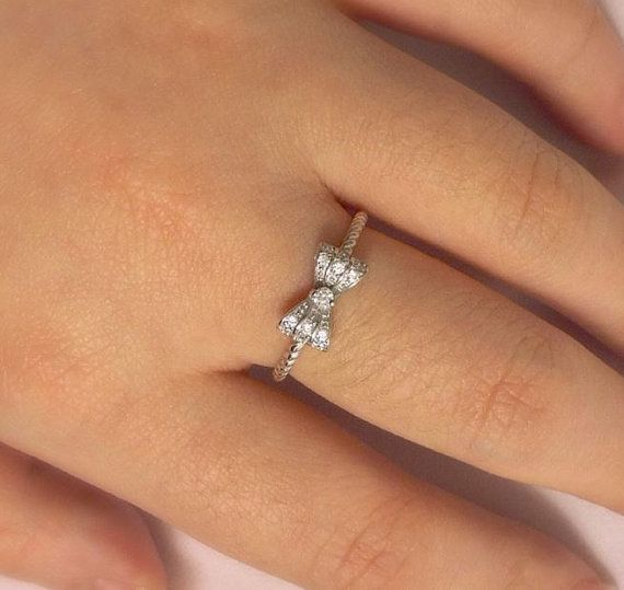 delicate item luxury cz silver with sentiments pearl wholesale bow women original for sterling clear rings white