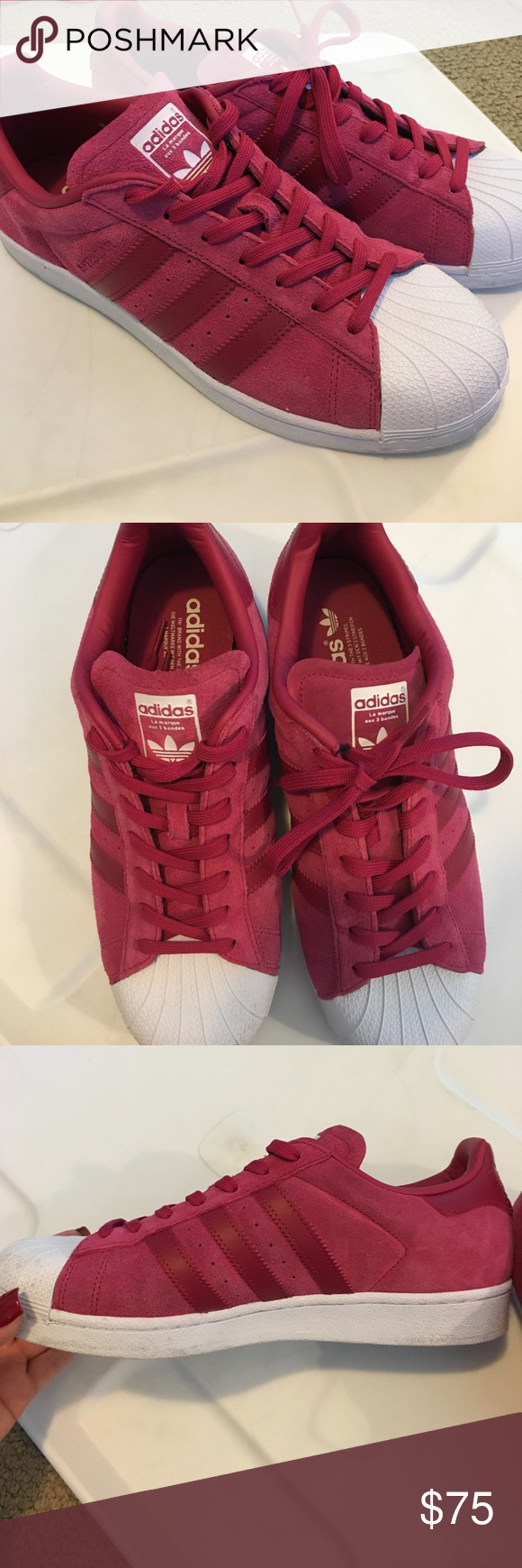 79fd86dd76ef Adidas superstar red velvet Red Velvet Superstar Sneakers... excellent  condition... worn only 2 times adidas Shoes Sneakers