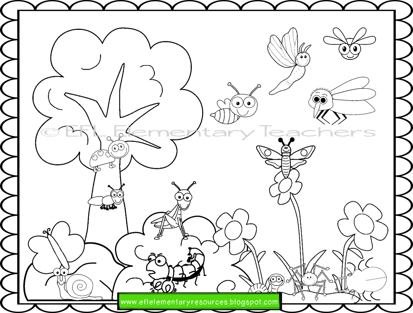 Esl Insects Worksheet To Review Colors And Prepositions