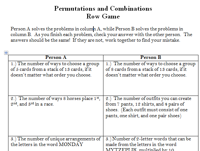 Permutations Amp Combinations Row Game