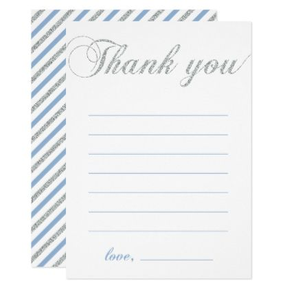 Silver  Blue  Modern Boy Party Thank You Note Card
