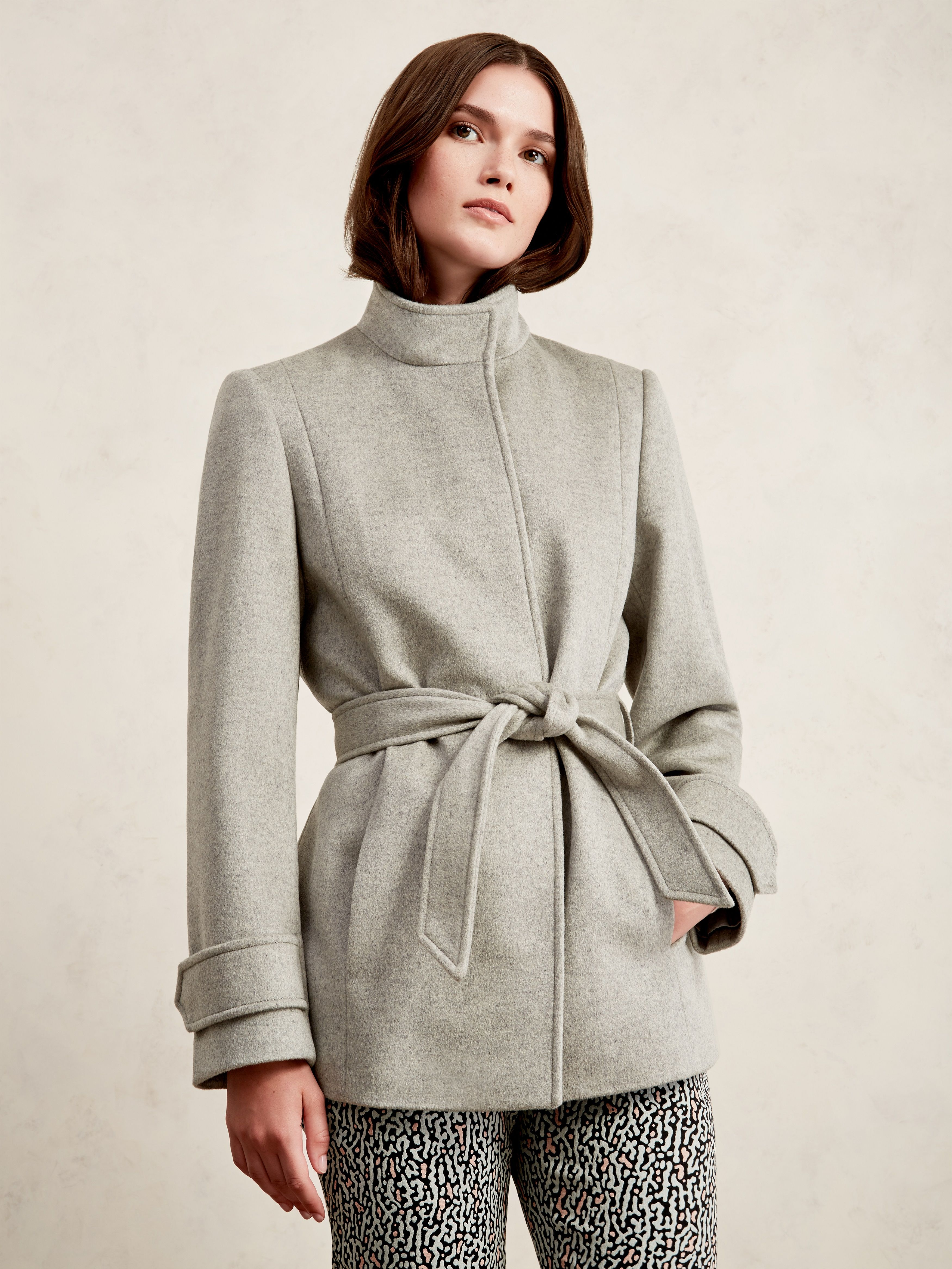 Wool Funnel Neck Coat and Ripple Jacquard Trousers.
