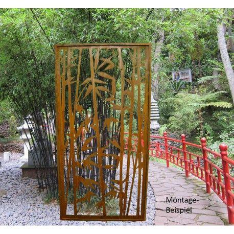 Rost Sichtschutz Offener Bambus Paravent Höhe 200 cm