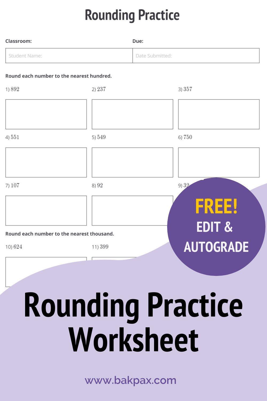 Free Rounding Practice Elementary School Math Worksheet Rounding Practice Elementary School Math Free Math Worksheets [ 1500 x 1000 Pixel ]