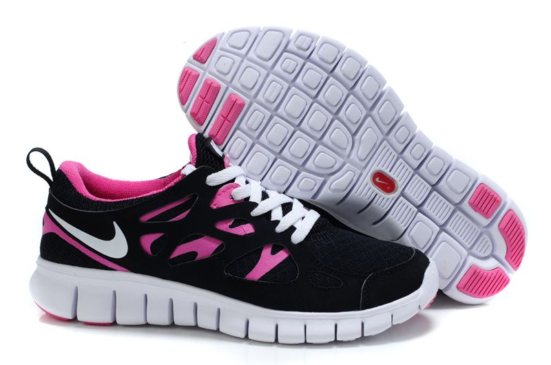 Womens Black Pink Flash White Nike Free Run 2 Running Shoes