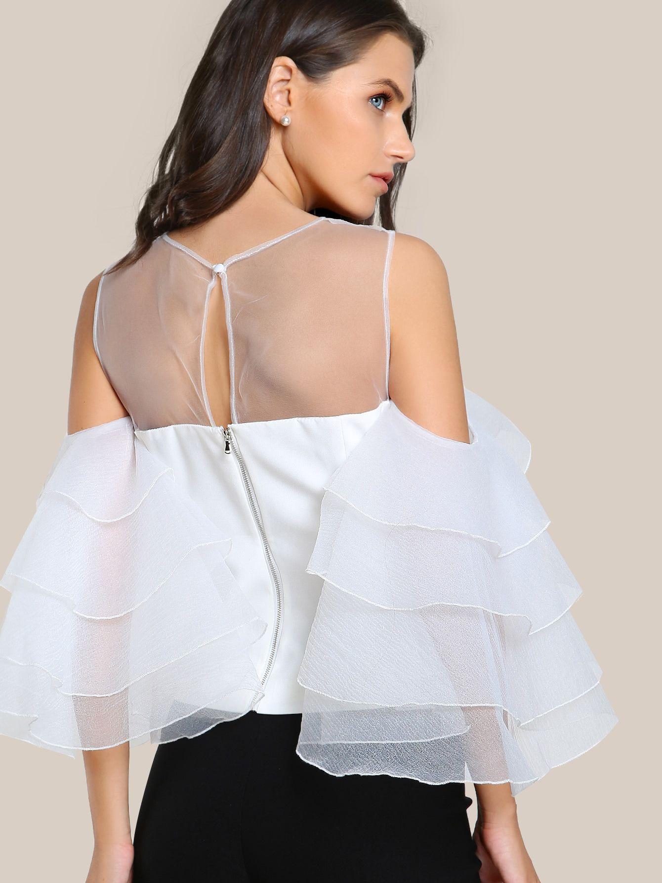531c36784291 Mesh Cutout Layered Ruffle Sleeve Top -SheIn(Sheinside) | white ...