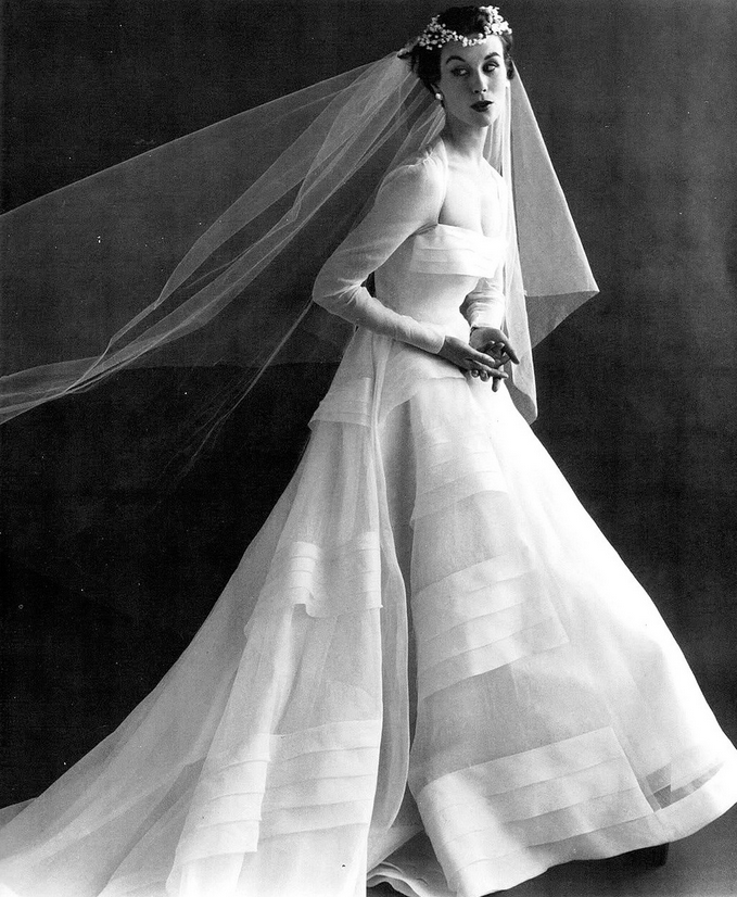 1958 Myrtle Crawford In White Organdy Wedding Gown By