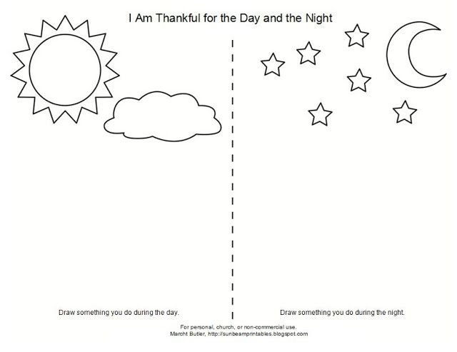 I Am Thankful For The Day And Night Lesson 8 Sketch Coloring Page In 2020 Bible School Crafts Coloring Pages Day For Night