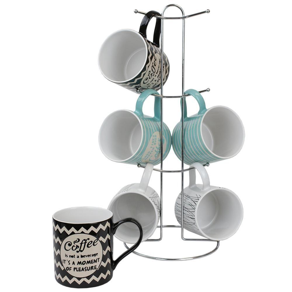 Home Basics It S Coffee Time 6 Piece Stoneware Mug Set With Stand
