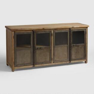 Large Wood And Metal Langley Storage Cabinet World Market