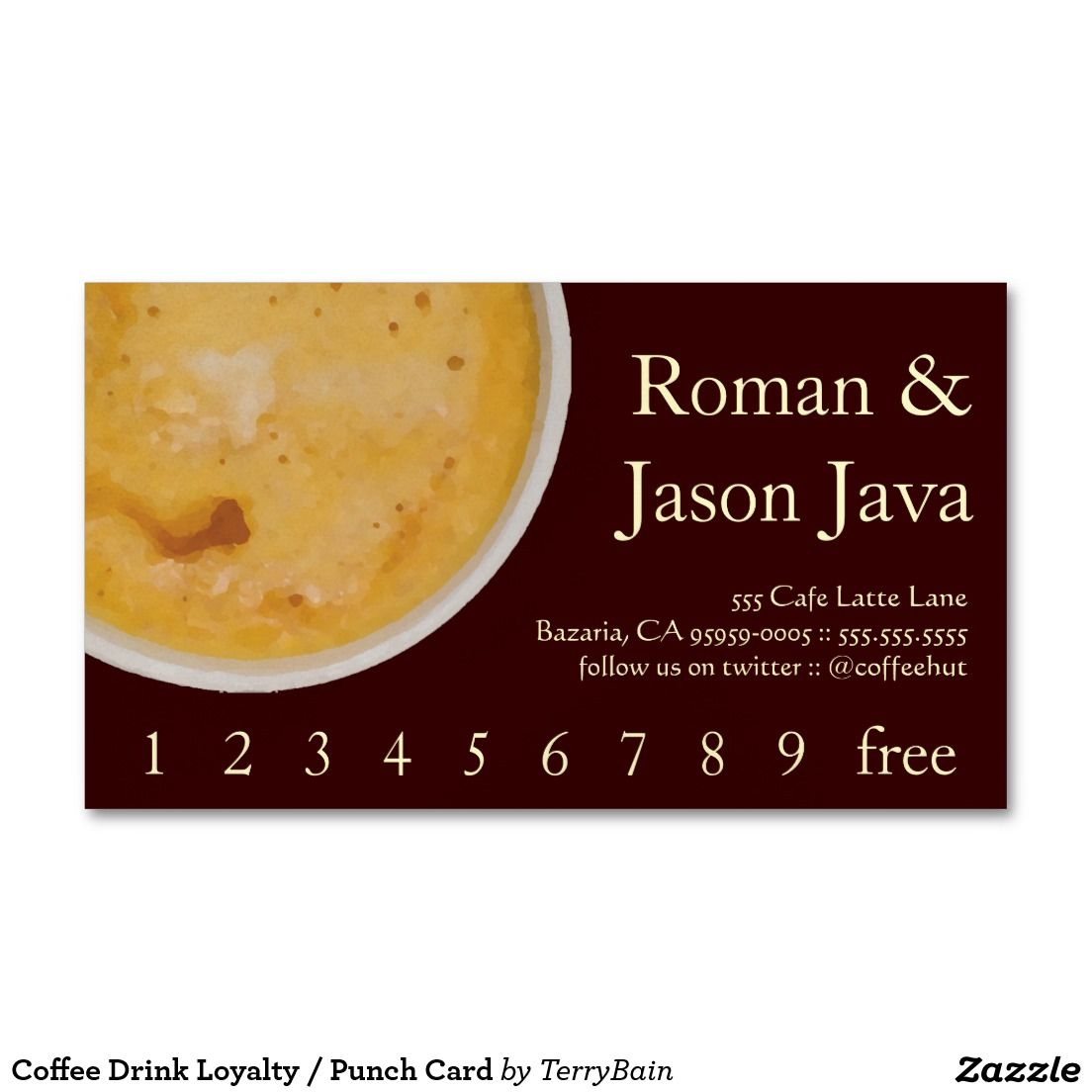 Coffee Drink Loyalty / Punch Card Business Card | Loyal to Coffee ...