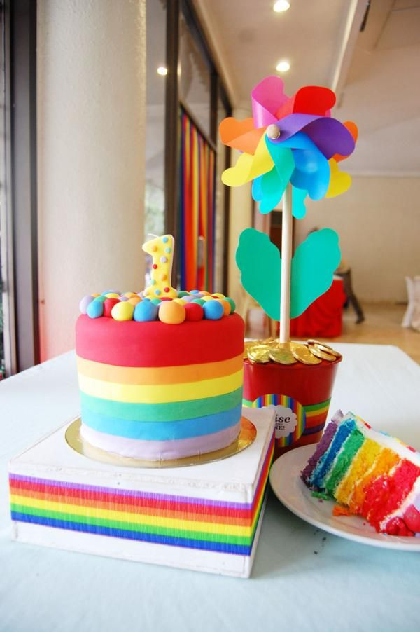 Rainbow Themed 1st Birthday Party With Images Rainbow Birthday Rainbow Birthday Party 1st Birthday Parties