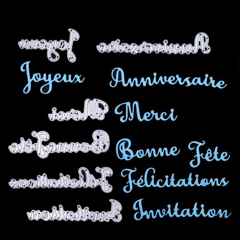 Mots Français Phrases Découpe De Métal Pochoirs Scrapbook Bricolage Artisanat
