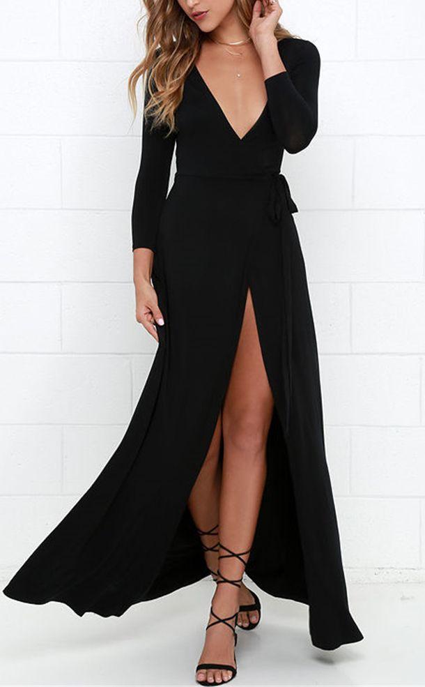 Modern Black High Slit Belted Wrap Dress 9604f7f4d